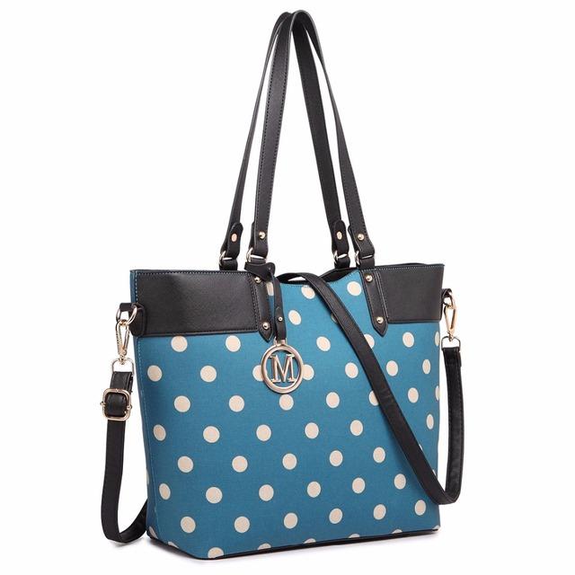 Miss Lulu New Fashion Women Designer Polka Dots M Metal Letter PU Leather Handbag Zip Shoulder Tote Bag Cross Body Satchel 1653