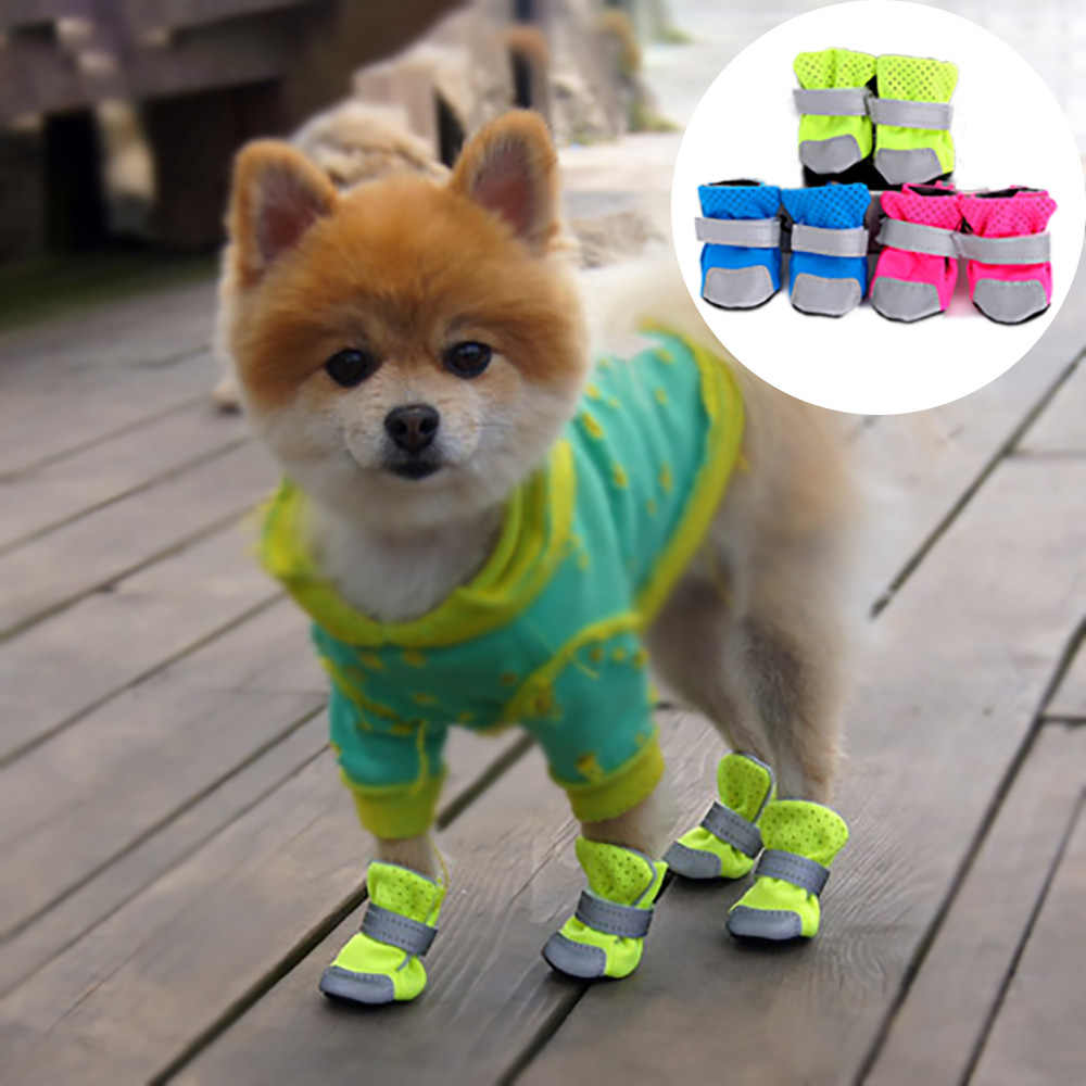 Winter Dog Shoes Breathable Pet Boots for Dogs Anti-slip Night Reflective Shoes Waterproof Socks for Chihuahua Small Medium Dogs