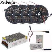 5 м 10 м 15 м 20 м WS2812B WS2812 30 светодиодов/м 60 светодиодов/м RGB Светодиодная лента, SP108E wifi RGB Led контроллер DC5V комплект адаптера питания