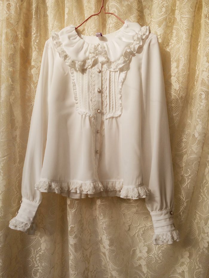 Harajuku Women Blouse Top Vintage Peter pan Collar lolita Sweet Cute Long Sleeve Shirt
