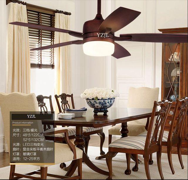 Retro Living Room Dining Room Bedroom Fan Chandelier Fan Lights Remote  Control Led American Village Fan