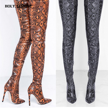 woman boots Thigh High Over the Knee Boots for Women Shoes Snakeskin Pointed Toe Super Thin High Heels Long Boots Bottine Femme купить недорого в Москве
