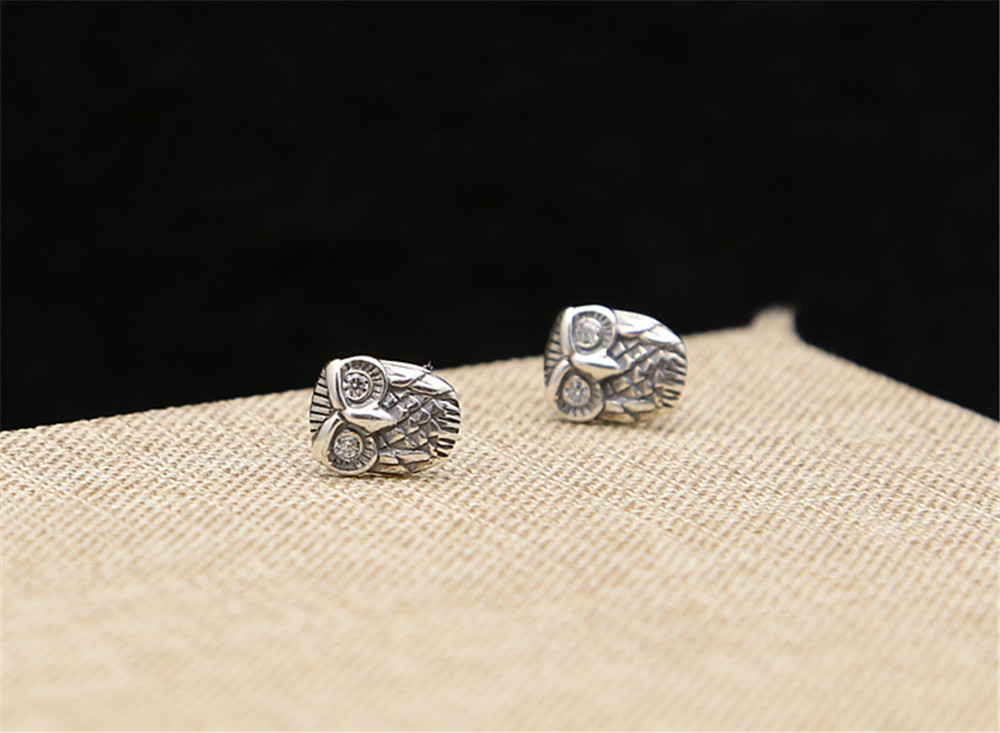 daf6b5b79 Aliexpress.com : Buy Authentic 925 Sterling Silver Vintage Punk Owl Stud  Earrings For Women Or Men Jewelry from Reliable owl stud earrings suppliers  on ...