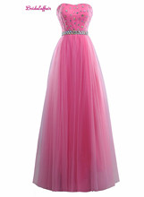 KapokBanyan Real Photo Simple Pink Tulle Crystal Strapless Prom Dresses 2017 Robe de soiree Cheap Lace up Party Gown with Sashes