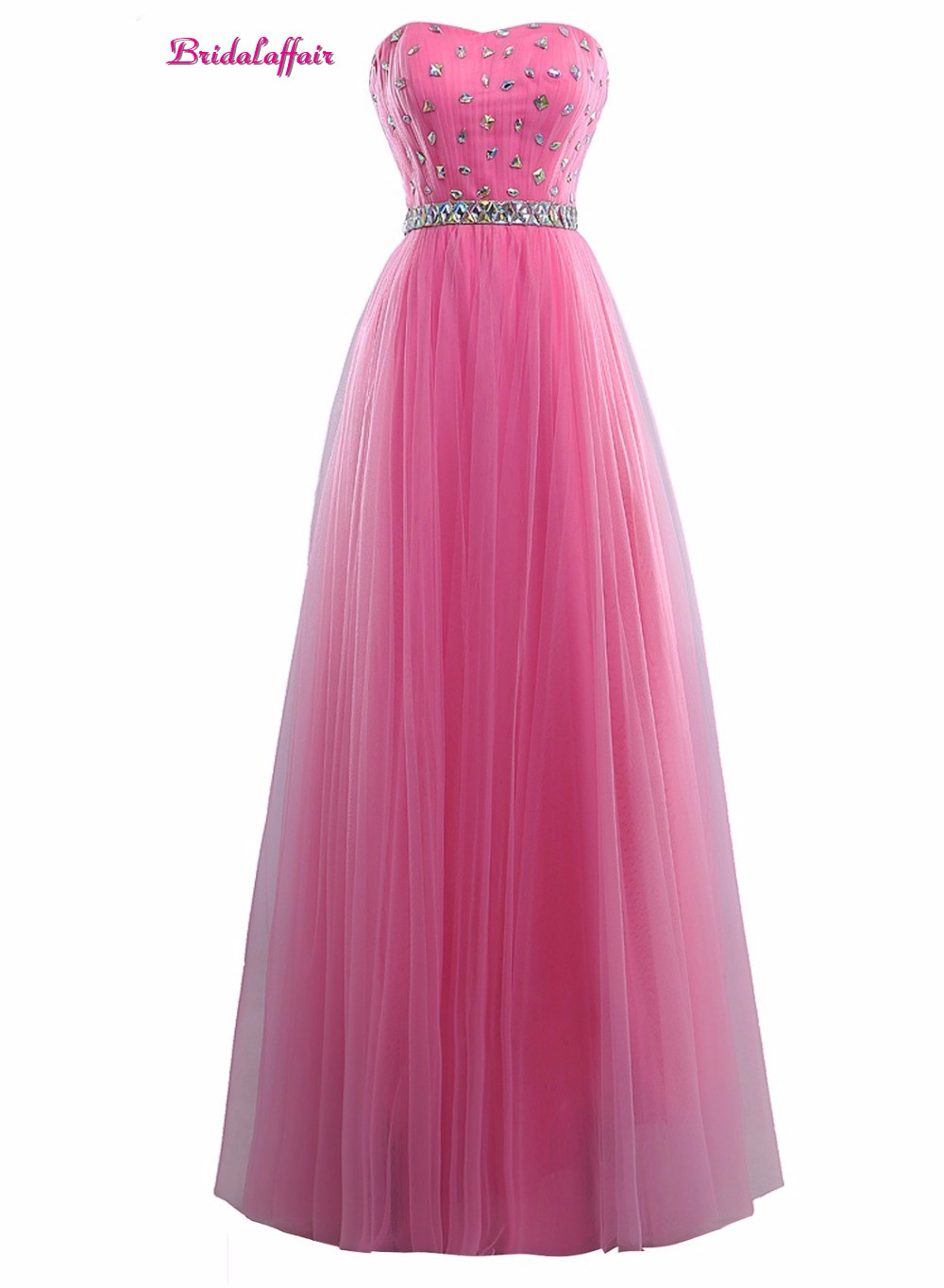 Bridalffair Real Photo Simple Pink Tulle Crystal Strapless   Prom     Dresses   2017 Robe de soiree Cheap Lace up Party Gown with Sashes