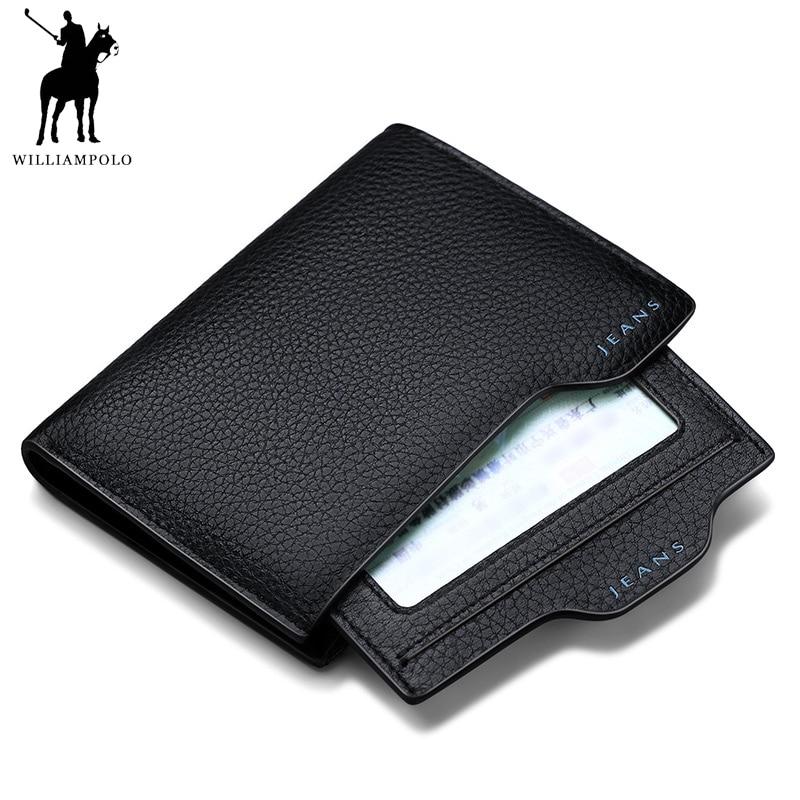 TIME LIMITED SELL WILLIAMPOLO echt leder rijbewijs portemonnee kalfsleer patroon portemonnee mannen PL146