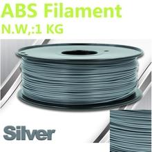 Silber Farbe 3d-drucker filament abs 1,75mm PinRui Marke abs filamente 3d druck 3d stifte 375 mlength 3d filament 1,75mm 1 kg ABS