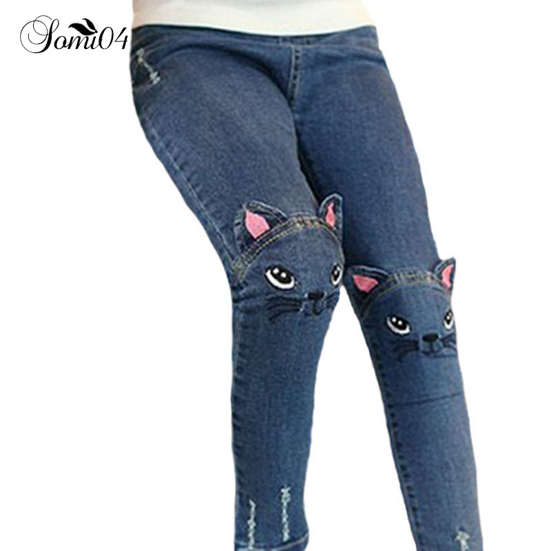 Cute Cartoon Pattern Kids Jeans 2018 Spring Autumn Winter Lovely Cat Children Denim Pants Casual Trousers Baby Girls Warm Jeans boys jeans kids trousers fashion children girls denim pants spring autumn baby casual soft long pants elastic jeans color gray