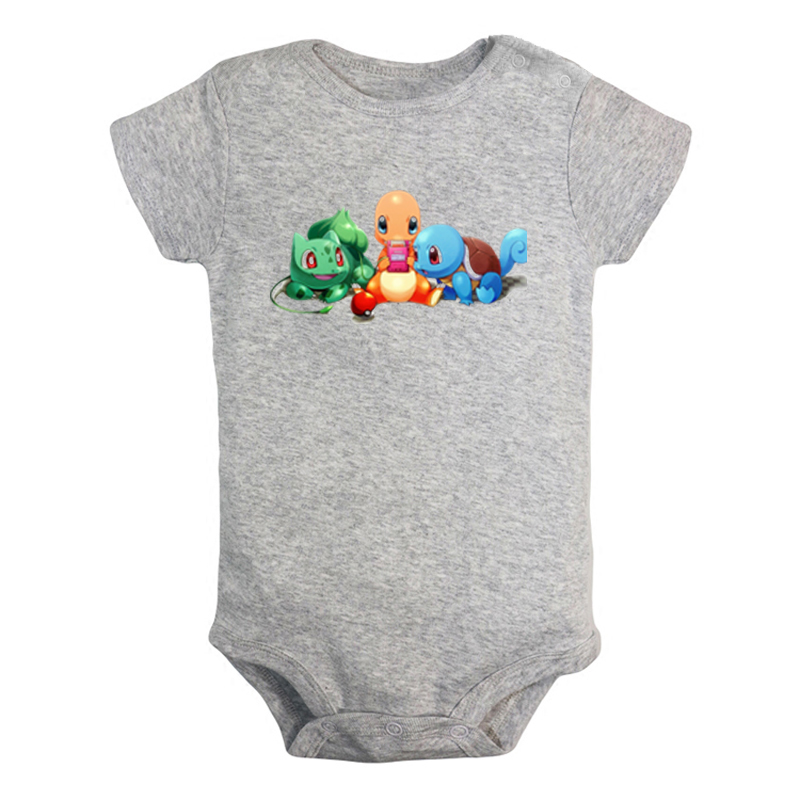 Cartoon Charmander Charmeleon Charizard Pokemon Design Newborn Baby Boys Girls Outfits Jumpsuit Print Infant Bodysuit Clothes