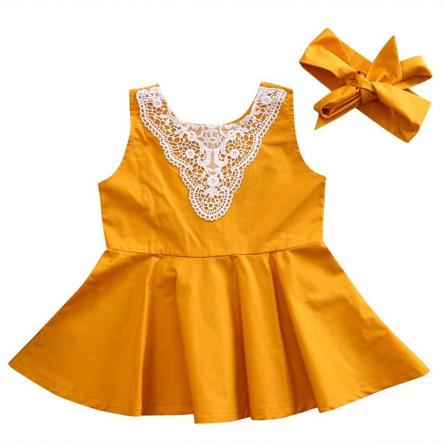 Infant Kinder Baby Mädchen Kleider Sleeveless Spitze Gelb Party ...