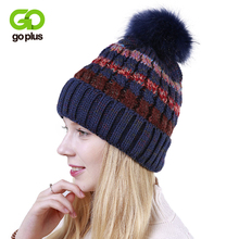 GOPLUS 2019 Winter Fur Pompom Knitted Hat Women Striped Casual Skullies Beanies Female Thick Cotton Flocking Warm Cap For Girl