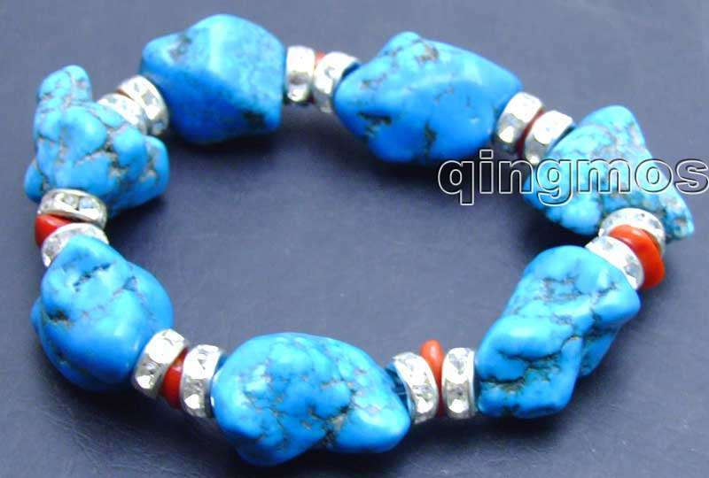 "GENUINE NATURAL Blue Big 20-30mm BAROQUE stone and RED CORAL 7.5"" Bracelet-bra102"