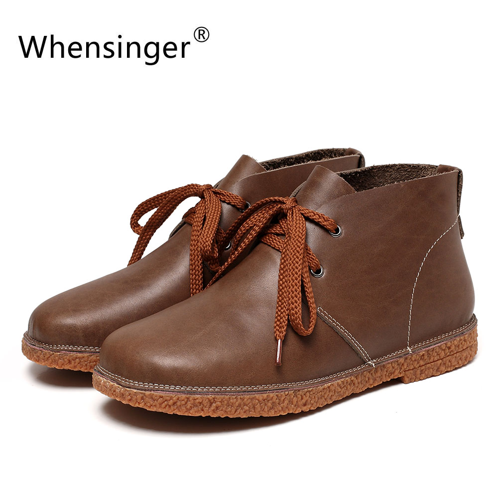Whensinger - 2017 New Women Genuine Leather Boots Solid Lace-Up Design Shoes Y1785 whensinger 2017 new women fashion boots genuine leather fashion shoes rubber sole hands sewing 2 color 7126