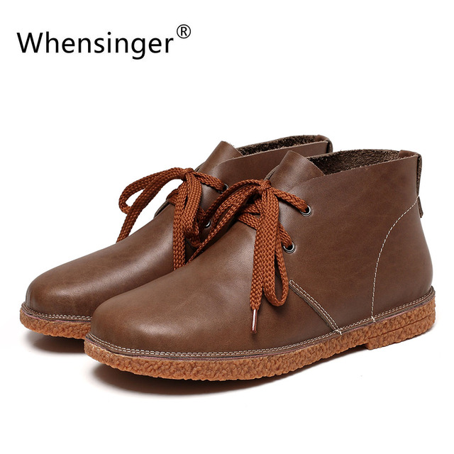 Whensinger - 2018 New Women Genuine Leather Boots Solid Lace-Up Design Shoes Y1785