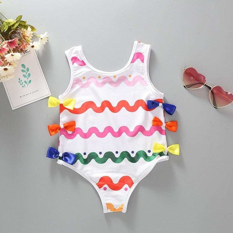 Summer Girls Swimwear One Piece Print Beach Baby Swimsuit Kids Children Swimming Trunks Girls Bathing Suit Clothes Set