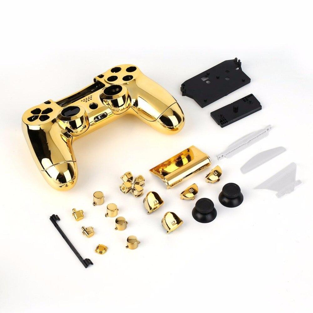 Habitação completo Caso Shell Pele Da Tampa Botão Set com Botões Completos Mod Kit de Substituição Para Playstation 4 PS4 Controlador de Ouro
