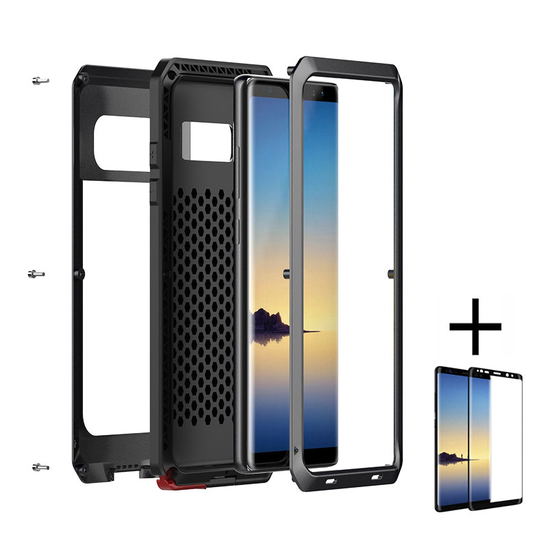 AKASO Aluminum Metal Military Shockproof Dustproof Case for Samsung galaxy NOTE 8+glass