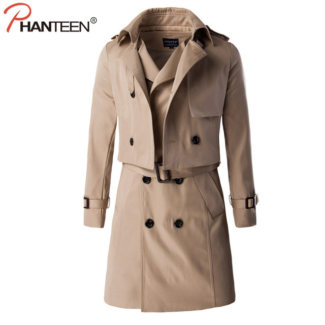 Phanteen High Quality Two Pieces A set Man Trench Autumn Long Length Double Breasted Jackets Separable Fashion Men Clothing