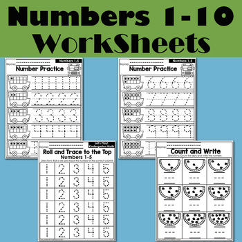 Kindergarten Math Numbers 1-10 Homework Paper English Learning Material Practice Reading Book Kids Montessori Child Workbook