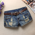 Summer Women Trendy Hole Denim Shorts Fashion Beggars Shorts Jean Low waist Shorts Without Belt