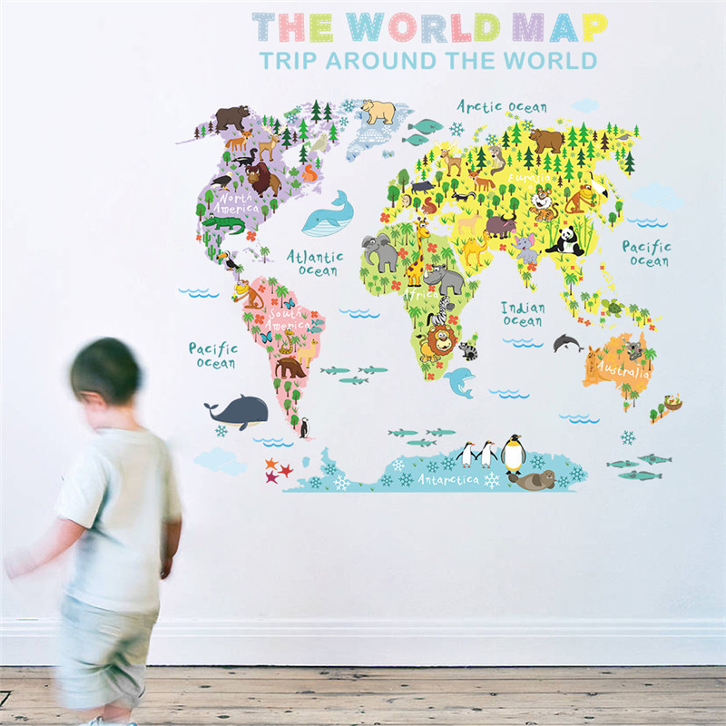 1PCS Color World Animal Map Wall Sticker For Kids Living Room Bedroom Kindergarten School ROOM DECOR 50*70CM