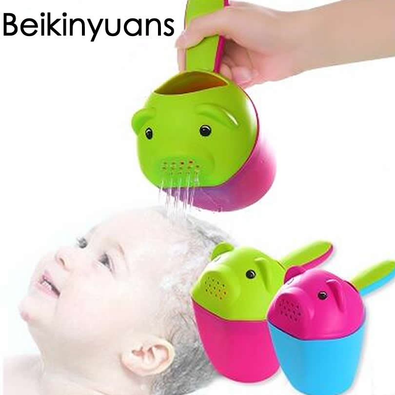 Baby Shower Spoon Baby Bath Shampoo Cup Animal Pig Pattern Shampoo Water play water Toy ladle colorful baby Bath happy
