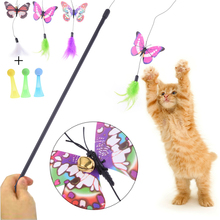 Funny Pet Cat Toy Kitten Cat Stick Toy Glow Butterfly Teaser Belling Feather Pet Wand Bar flashing Bouncing Ball Color Random