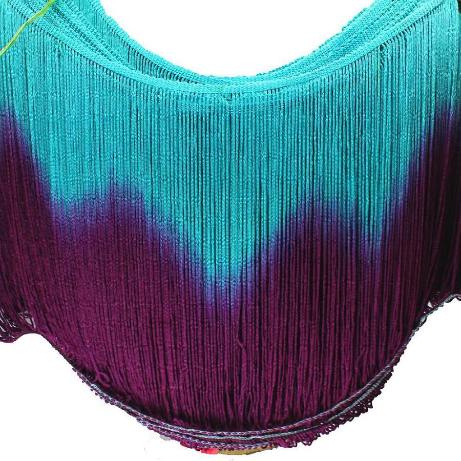 5 Yds/Lot Fringe Tassel Latin Trimming Dip Dye Omble Rayon Macrame Lace Samba DanceWear Trimming Sewing Trims 25cm-30cm