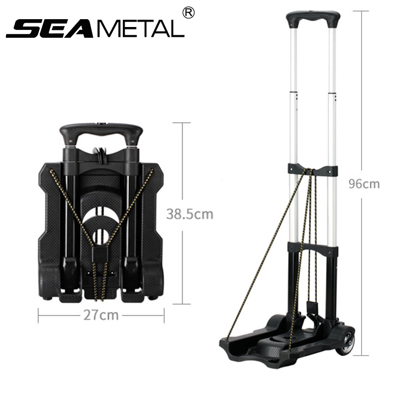 Car Luggage Cart Folding Trolley Cart Carrier Use At Home Small Portable Shopping Trolley Car Retractable Trailer Handcart 2018