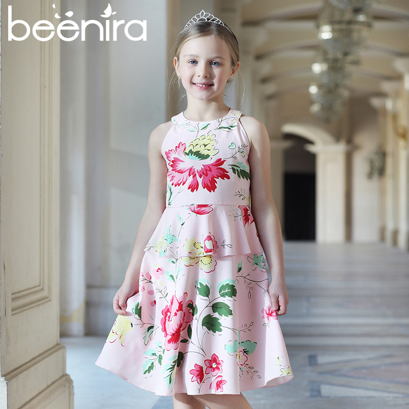 Beenira Princess Dress Floral Print Girls Dresses 2017 Brand New Summer Kids Clothes Toddler Dresses European and American 4-14Y little maven 2017 new summer baby girls floral print dress brand clothes kids cotton duck rabbit printing dresses s0136