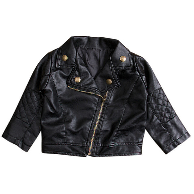dc8a06dd10b7 Emmababy autumn Spring Kids PU Leather Jacket Girls black cool ...
