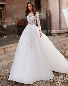 Image 5 - לורי חתונה שמלת 2019 ארוך שרוולי Vestidos דה novia אשליה תחרה Appliqued קו כלה שמלת כפתורים חזרה שמלות כלה