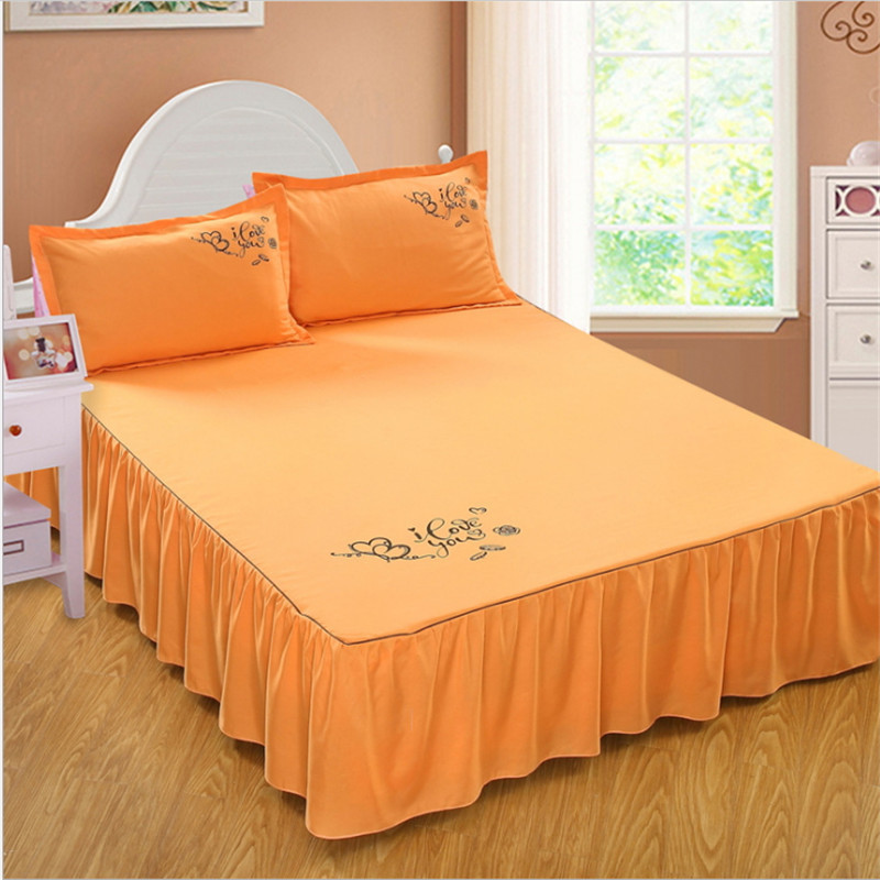Reactive printing cotton bed skirt non slip protective cover delicate edging jacquard bed skirts wedding bedding in Bed Skirt from Home Garden