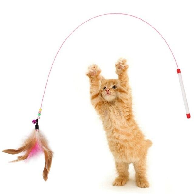 Di modo Divertente Gattino Gatto Pet Teaser Piuma Filo Chaser Pet Giocattolo Bac