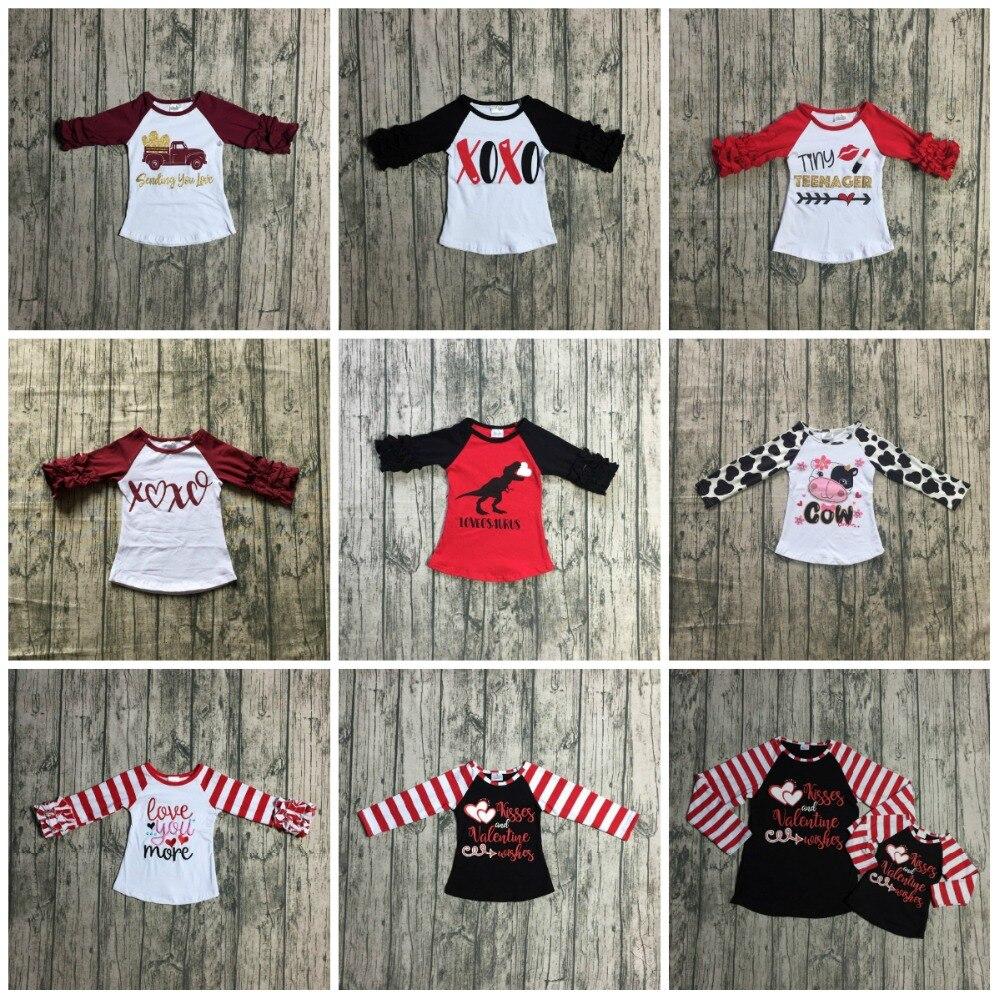 Nuevo Día de San Valentín de Primavera/invierno Bebé Niñas Ropa de los niños boutique de algodón camiseta de raglans glaseado manga camionero XOXO vino