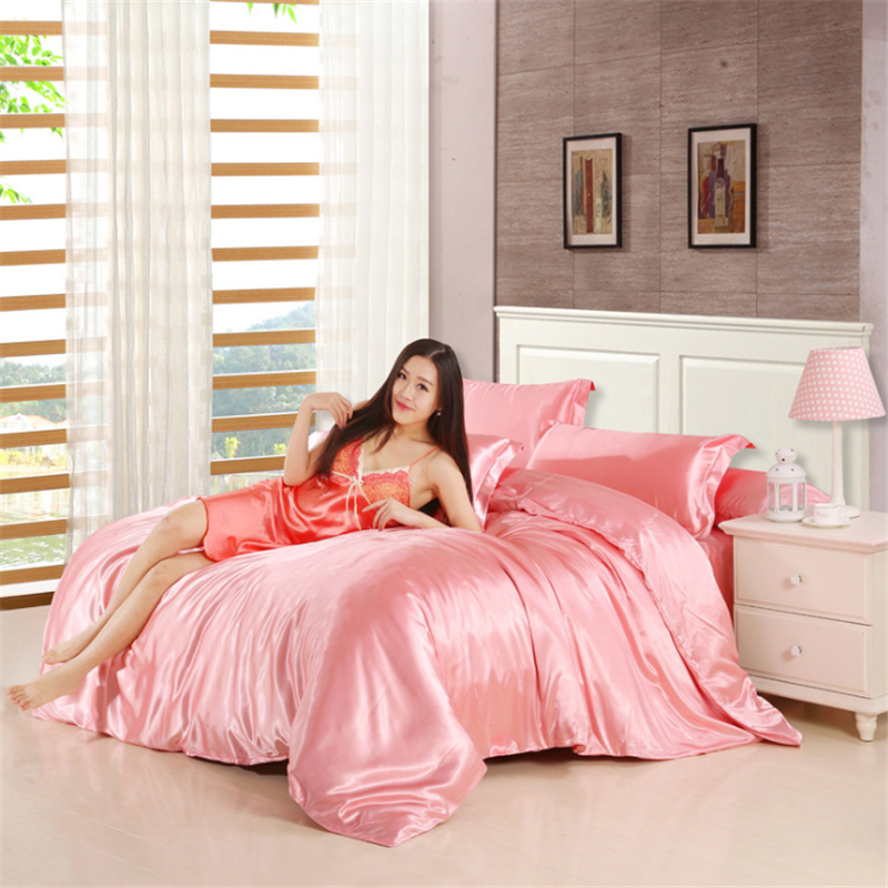 HOT! 100% Pure Satin Silk Bedding Set,Home Textile King Size Bed Set,Bedclothes,Duvet Cover Fitted Bed Sheet Pillowcases Bedding