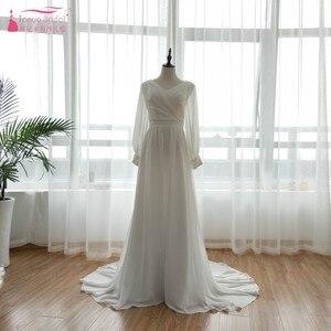 Image 2 - ארוך שרוול שיפון כלה שמלות כלה 2018 מאוחר הקיץ בוהמי חוף Vestido דה Noiva פיות קוריאה Gelinlik ZW056
