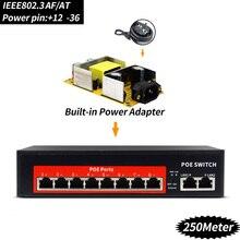 12 Порты 48 V коммутатор POE с унифицированным RJ45 Порты и разъёмы IEEE 802,3 af/at 48 V сетевой коммутатор Ethernet 10/100 Мбит/с для POE камеры