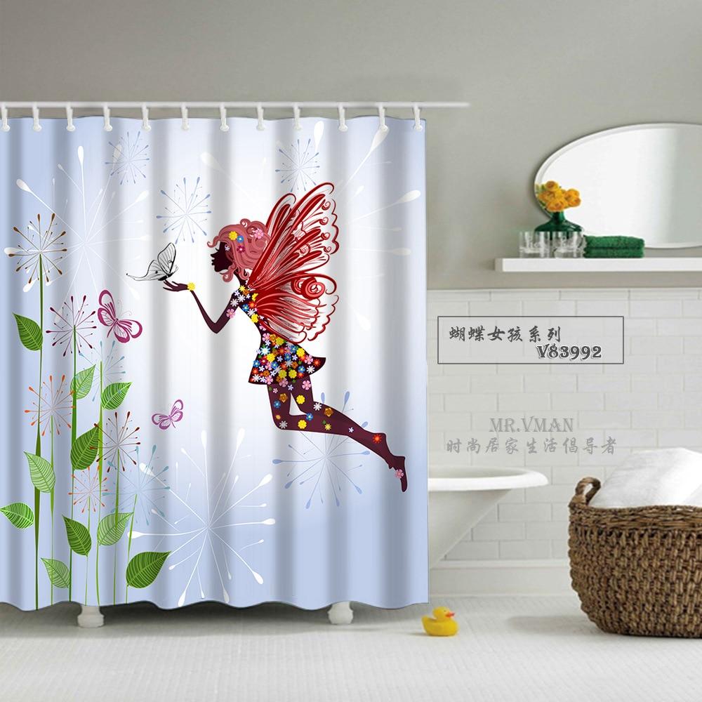 shower curtain A beautiful angel shower curtain hooks waterproof ...