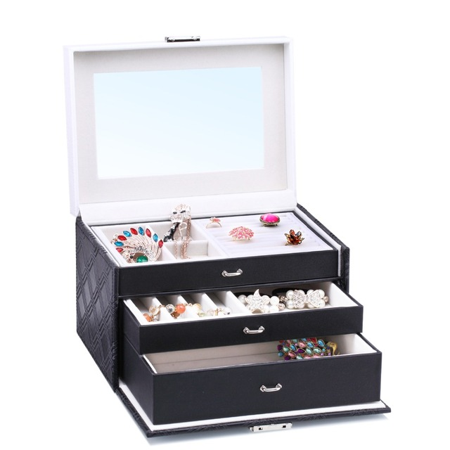 Charmant Large Velvet Jewelry Storage Box PU Diamond Pattern Jewellery Rings Boxes  Mirror Bracelet Earrings 2 Drawers