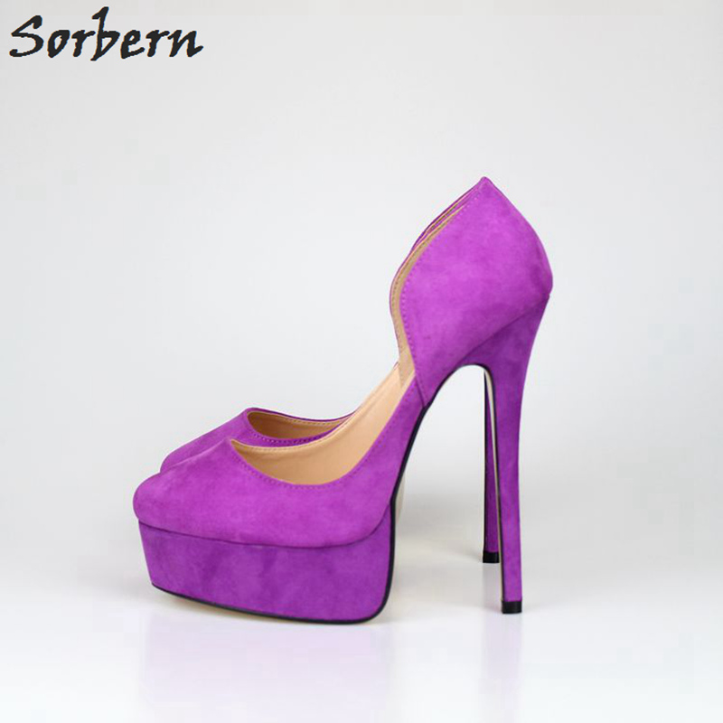 Sorbern 16Cm High Heel 4Cm Platform Womens Pumps Heels 2018 Ladies Heel Shoes Pointed Toe Plus Size 40-48 Unisex Shoes new 2017 spring summer women shoes pointed toe high quality brand fashion womens flats ladies plus size 41 sweet flock t179