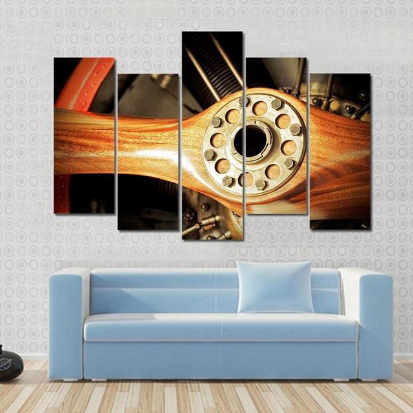 5 panels landscape vintage wooden aircraft propeller and engine
