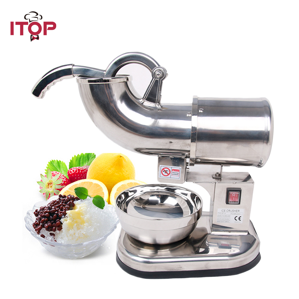 ITOP SBT114 Ice Crusher and Shavers Commercial Use Snow Maker Stainless Steel 110V 220V 240V stainless steel electric ice shavers crusher chopper ice slush maker icecream snow cone ice block breaking machine eu us plug