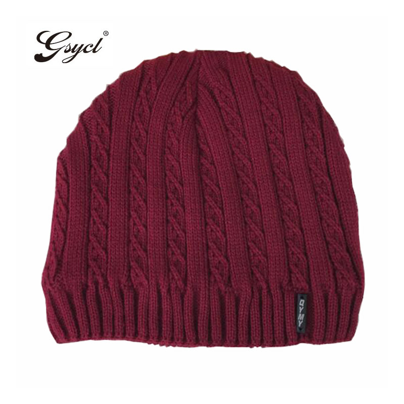 [Gsycl] New Winter Men Thicker Knitting Cashmere Cap Outdoor Thermal Hat for Men 5 Colors Black Wine Red Grey Coffee Navy Hot the new children s cubs hat qiu dong with cartoon animals knitting wool cap and pile