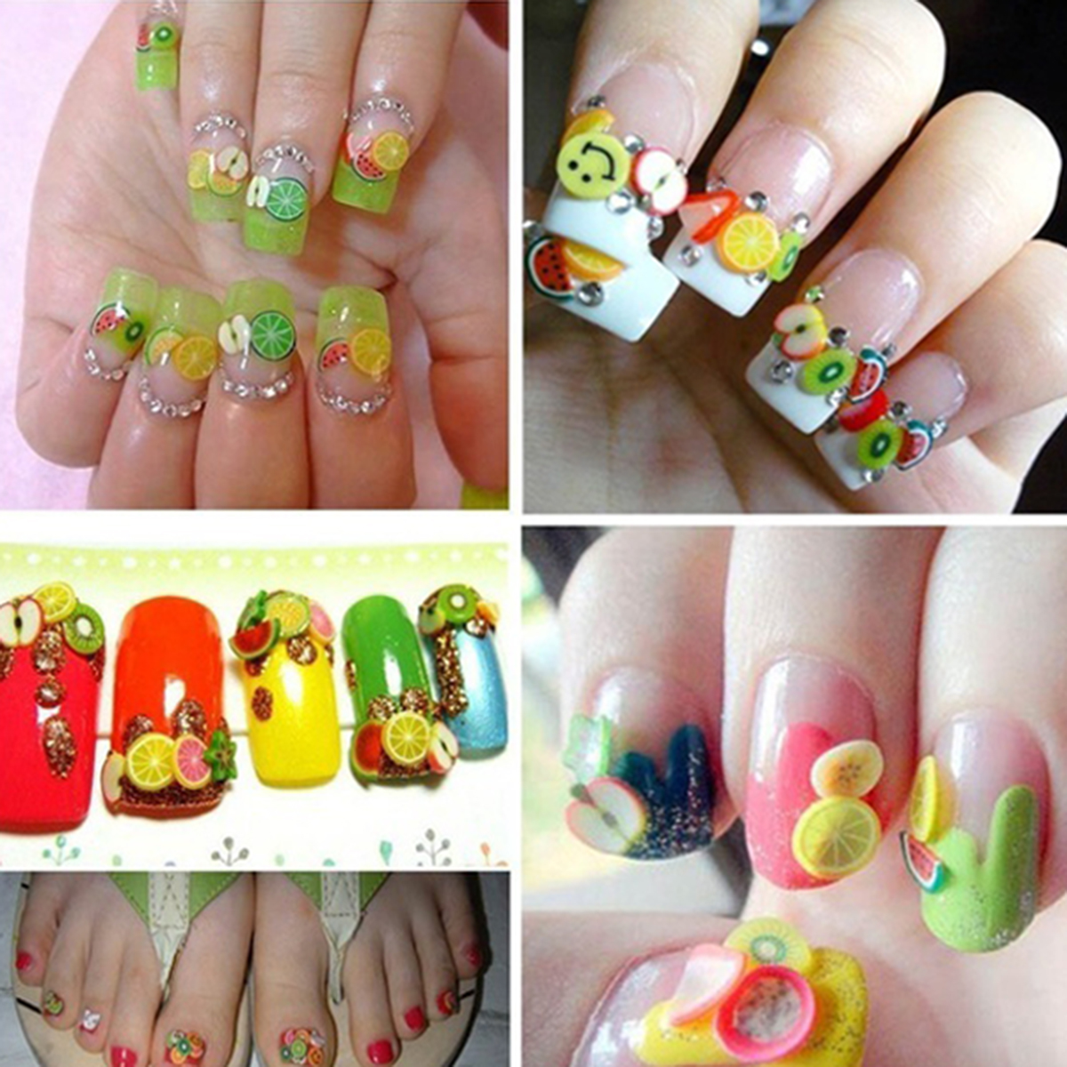 1000pcsbag Assorted Fimo 3d Fruit Pattern Slices Nail Art