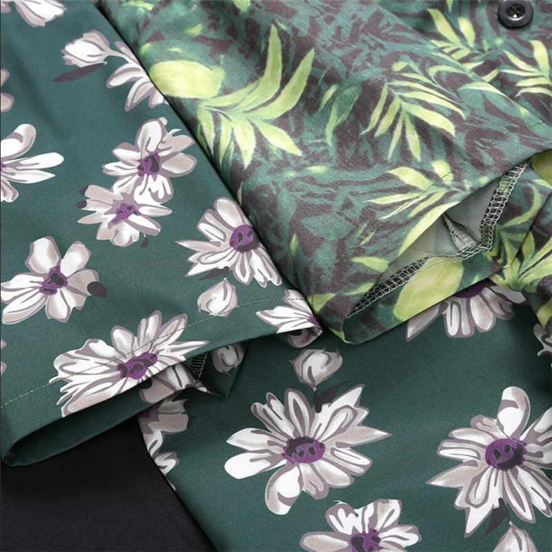 Гавайская рубашка мужская Повседневная Свободная Camisa Masculina пляжная Гавайская Праздничная рубашка с цветочным принтом высокого качества мужские рубашки размера плюс A5492