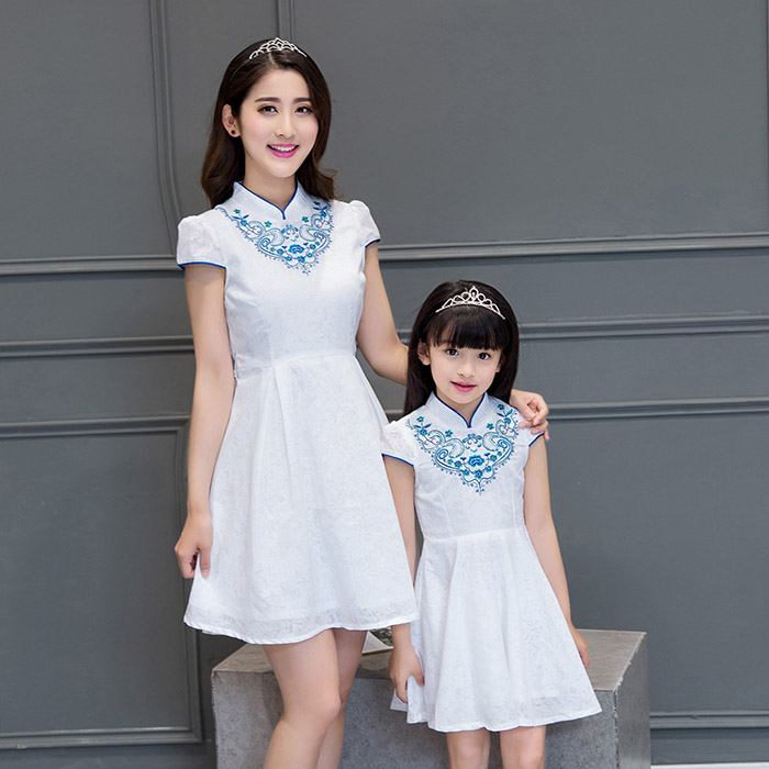 2016 summer women dress mother daughter dresses family look white chinese style dress high collar embroidery