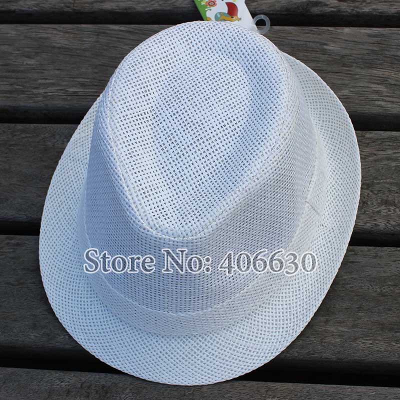 56cm Kids White Straw Fedora Hats For Children Boys Summer Jazz Hats Baby  Top Hat 10pcs lot Free Shipping GPXS014-in Fedoras from Apparel Accessories  on ... 156641ebda42