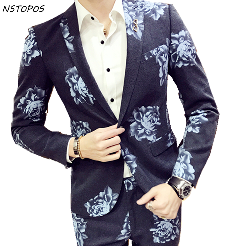 Mens Flower Suit 2017 Costume Mariage Homme Blue Pink Purple Suit For Men Wedding Groom Host