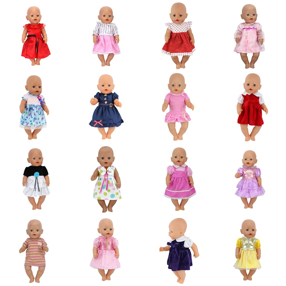 Doll Dress Fit For 43cm Baby Born Zapf Doll Reborn Babies Clothes And 17inch Doll Accessories 43cm zapf baby born doll cute pink princess dress with hat and underwear for 18 american girl doll clothes baby gift toy